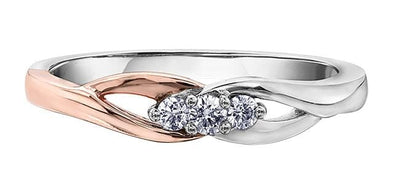10 Karat White Gold, Rose Gold Accent Canadian Diamond Ring