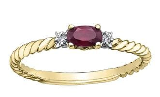10 Karat Yellow Gold Ruby, Diamond Ring