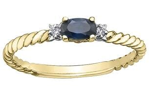 10 Karat Yellow Gold Blue Sapphire, Diamond Ring
