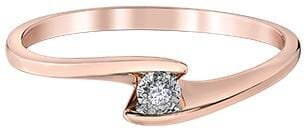 10 Karat Rose Gold, White Gold Accent Diamond Ring