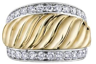 10 Karat Yellow Gold, White Gold Accent Diamond Ring