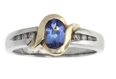 10 Karat White Gold, Yellow Gold Accent Tanzanite, Diamond Ring