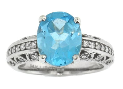 14 Karat White Gold Blue Topaz, Diamond Ring