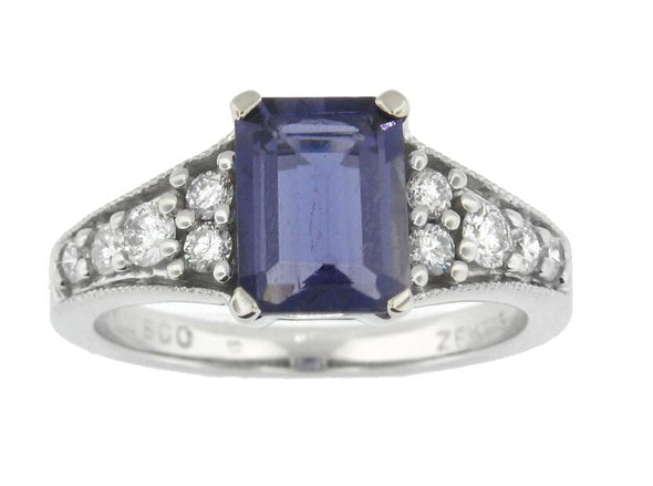 14 Karat White Gold Iolite, Diamond Ring