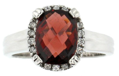 14 Karat White Gold Garnet, Diamond Ring