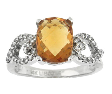 14 Karat White Gold Citrine, Diamond Ring