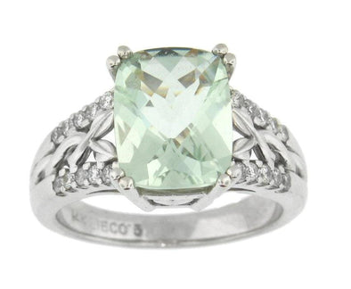 14 Karat White Gold Green Amethyst, Diamond Ring