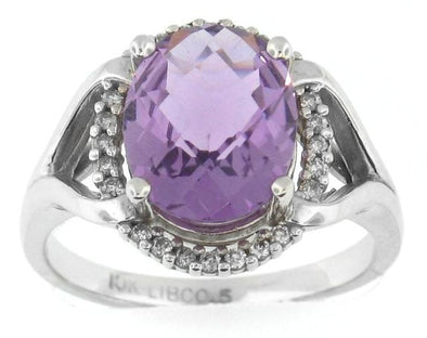 10 Karat White Gold Amethyst, Diamond Ring