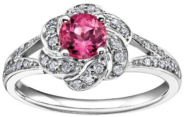 10 Karat White Gold Pink Tourmaline, Diamond Ring