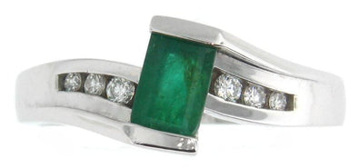 10 Karat White Gold Emerald, Diamond Ring