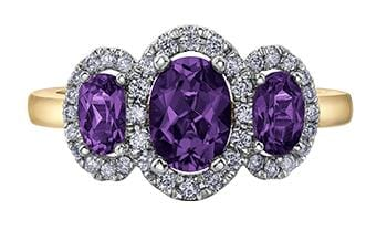 10 Karat Yellow Gold Diamond, Amethyst, Diamond Ring