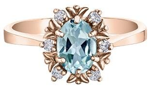 10 Karat Rose Gold Blue Topaz, Diamond Ring