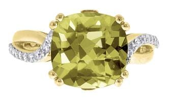 10 Karat Yellow Gold Green Quartz, Diamond Ring