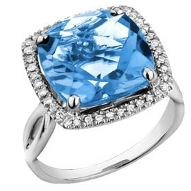 10 Karat White Gold Blue Topaz, Diamond Ring