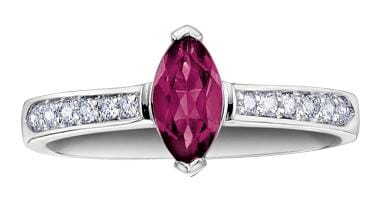 10 Karat White Gold Rhodolite Garnet, Diamond Ring