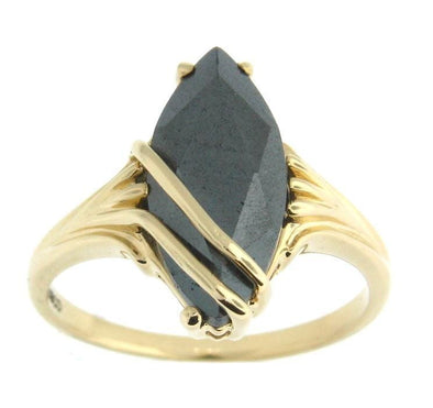 10 Karat Yellow Gold Hematite Ring