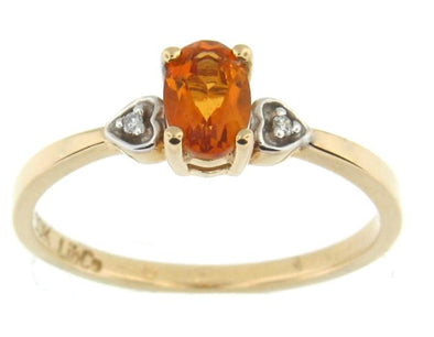 10 Karat Yellow Gold, White Gold Accent Citrine, Diamond Ring