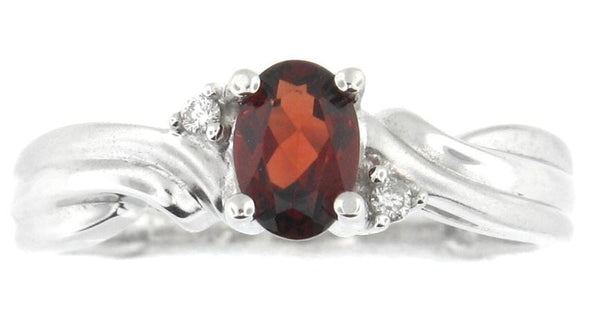 10 Karat White Gold Garnet, Diamond Ring