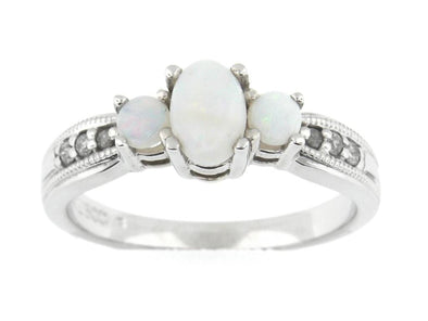 10 Karat White Gold Opal, Diamond Ring