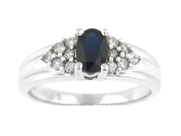 10 Karat White Gold Blue Sapphire, Diamond Ring