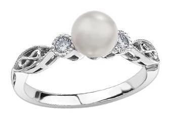 10 Karat White Gold Cultured Pearl, Diamond Ring