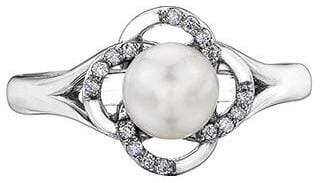 10 Karat White Gold Diamond, Pearl Ring