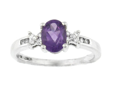 10 Karat White Gold Amethyst & Diamond Ring