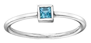 10 Karat White Gold Blue Topaz Ring