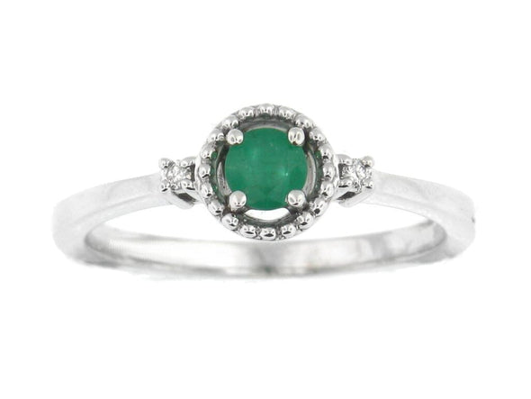 White Gold Emerald and Diamond Ring