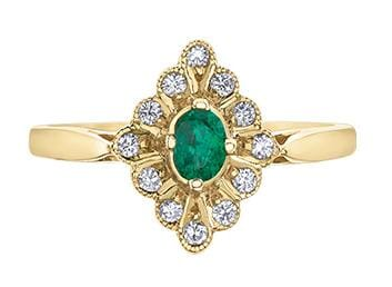 10 Karat Yellow Gold Emerald, Diamond Ring