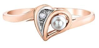 10 Karat Rose Gold, White Gold Accent Pearl, Diamond Ring