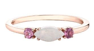 10 Karat Rose Gold Opal, Pink Tourmaline Ring