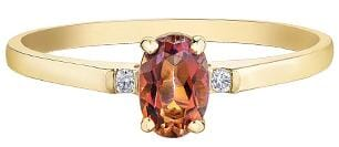 10 Karat Yellow Gold Sunrise Topaz, Diamond Ring