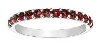 10 Karat White Gold Garnet Band