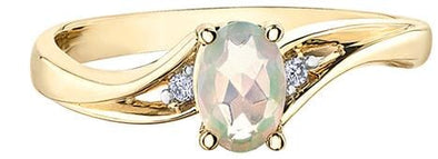 10 Karat Yellow Gold Opal, Diamond Ring