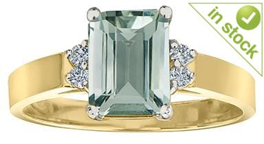 10 Karat Yellow Gold, White Gold Accent Green Amethyst, Diamond Ring