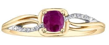10 Karat Yellow Gold, White Gold Accent Ruby, Diamond Ring