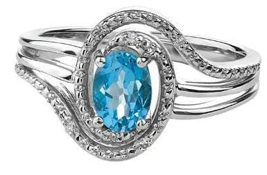 Sterling Silver Blue Topaz, Diamond Ring