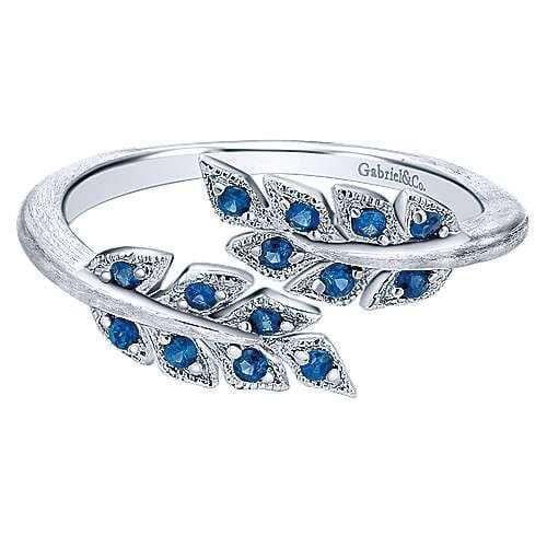 Sterling Silver Blue Sapphire Bypass Leaf Wrap Ring