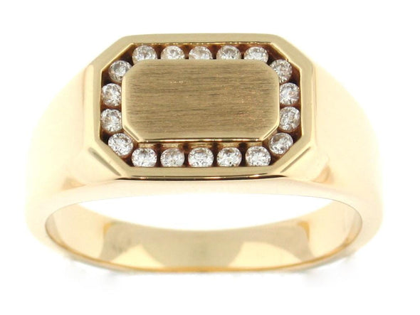 10 Karat Yellow Gold Diamond Mens Ring