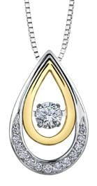 10 Karat White Gold, Yellow Gold Accent Canadian Diamond Pulse Pendant
