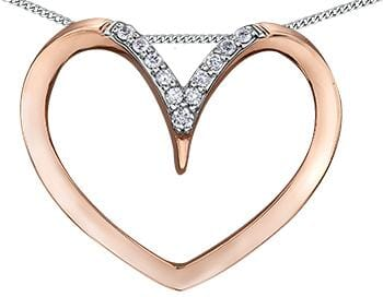 10 Karat Rose Gold, White Gold Accent Diamond Heart Pendant