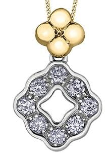 10 Karat Yellow Gold, White Gold Diamond Pendant