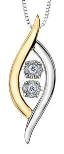 10 Karat White Gold, Yellow Gold Accent Diamond PULSE Pendant