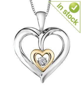 Sterling Silver Yellow Gold Accent Diamond Heart Pendant