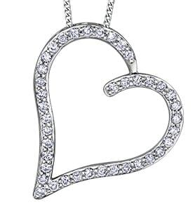 10 Karat White Gold Diamond Heart Pendant