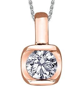 14 Karat Rose Gold Canadian Diamond Solitaire Pendant