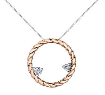 10 Karat Rose Gold Diamond Circle Pendant