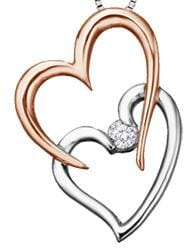 10 Karat White Gold, Rose Gold Accent Canadian Diamond Heart Pendant