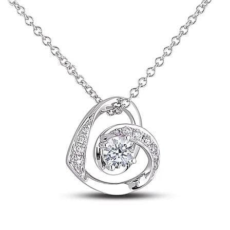10 Karat White Gold Canadian Diamond Heart Pendant